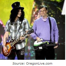 Slash and Bill Gates Play Guitar Hero