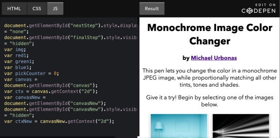 Monochrome Image Color Changer - image only - embedded CodePen